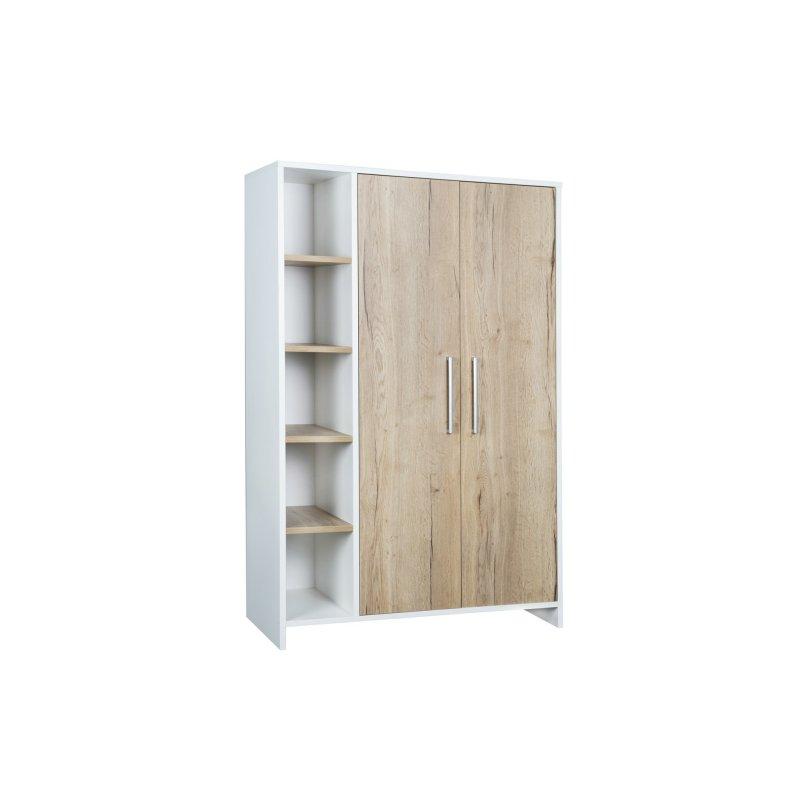 schrank 2 t rig mit seitenregal eco plus dekor wei holzdekor h 355 00. Black Bedroom Furniture Sets. Home Design Ideas